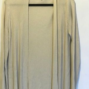 Eileen Fisher long off white open front sweater Xl